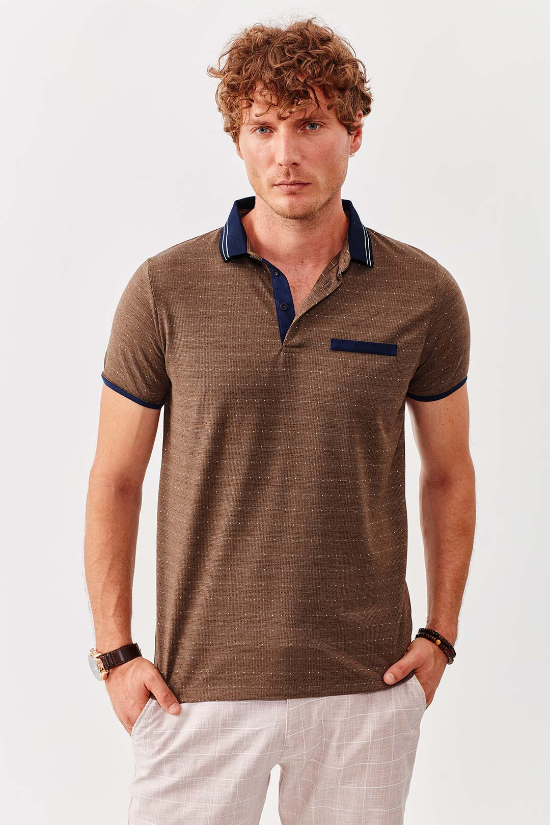 Manche Kahve Fileto Cepli Polo Yaka T-Shirt | Me19S234377