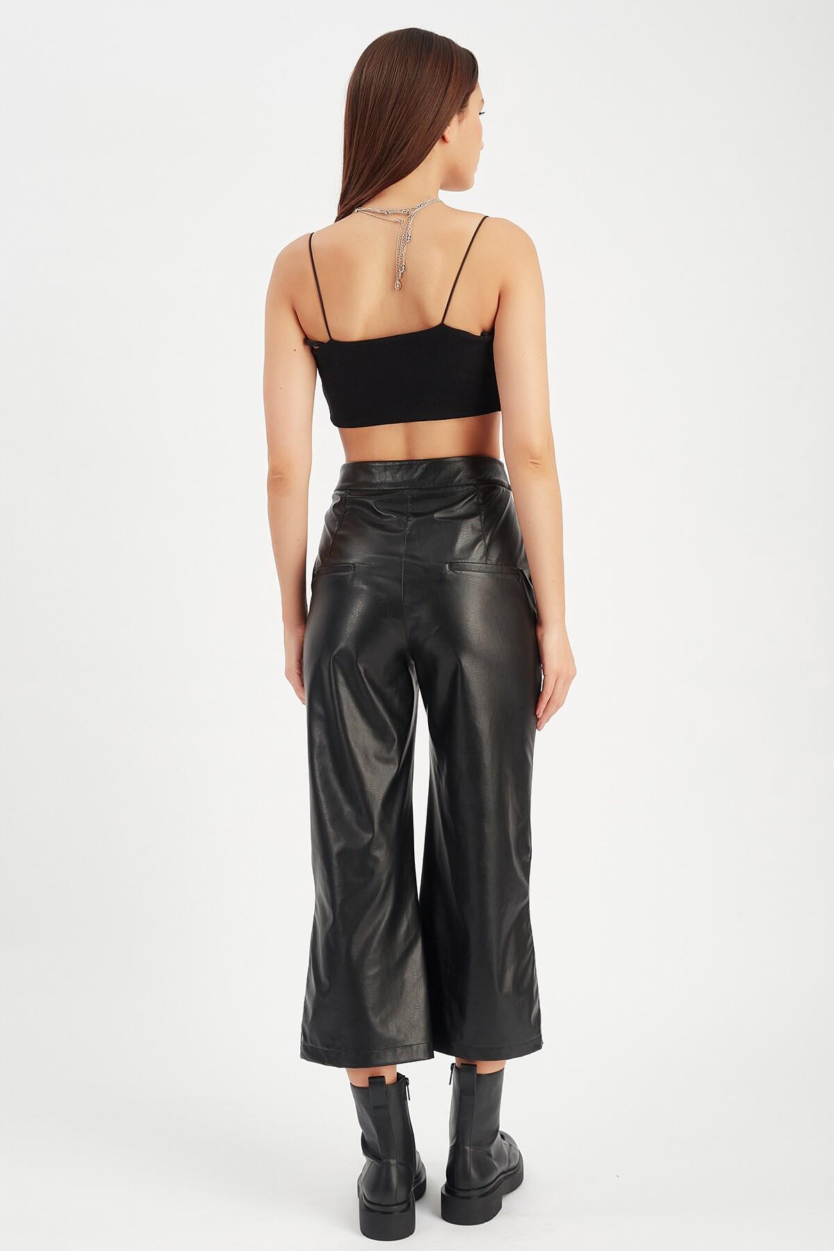 Bol Paça Siyah Kadın Deri Pantolon