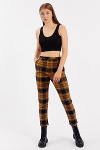 Hardal Kadın Mom Fit Flannel Pantolon